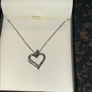 Diamond and sterling heart pendant